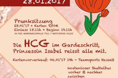 Freitag 06.01.17, 19:00 Kartenvorverkauf HCG-Prunksitzung